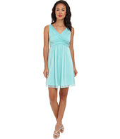 Adrianna Papell - V-Neck Chiffon Cocktail Dress
