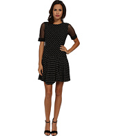 Rebecca Taylor - Short Sleeve Dotty Dress With Lace Sleeve