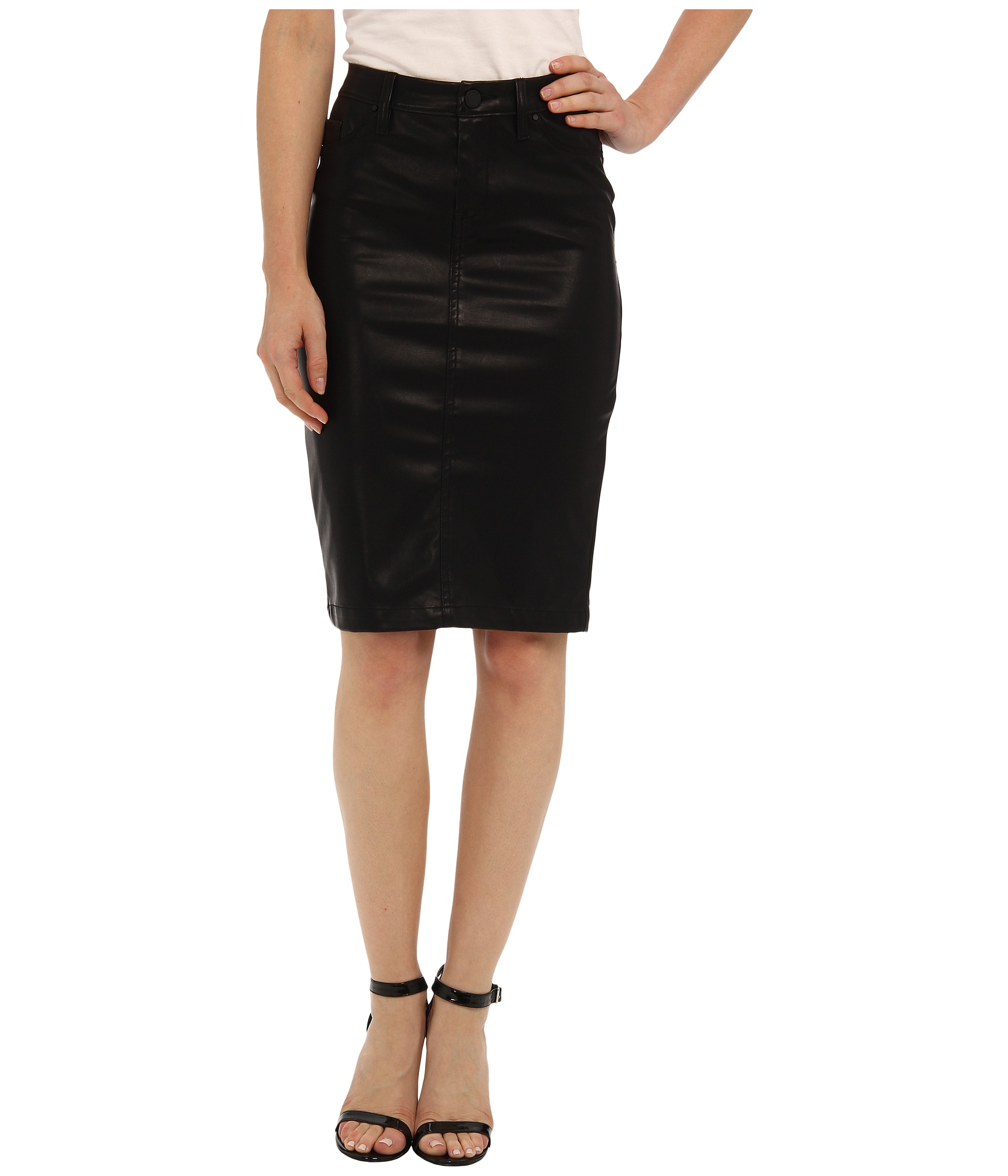 blank nyc faithful pencil vegan leather skirt in cat
