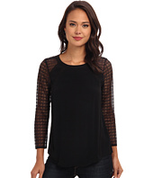 Rebecca Taylor - Long Sleeve Crepe Top With Lace