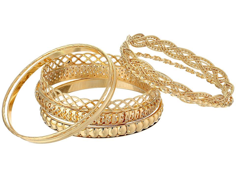 GUESS - Six Piece Textured Bangle Set (Gold) Bracelet