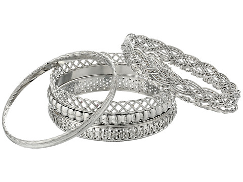 GUESS Six Piece Textured Bangle Set - Silver