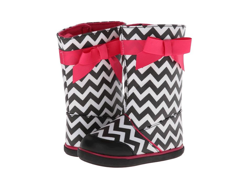 Baby Deer Chevron Boot Infant/Toddler Black/White/Fuchsia Girls Shoes