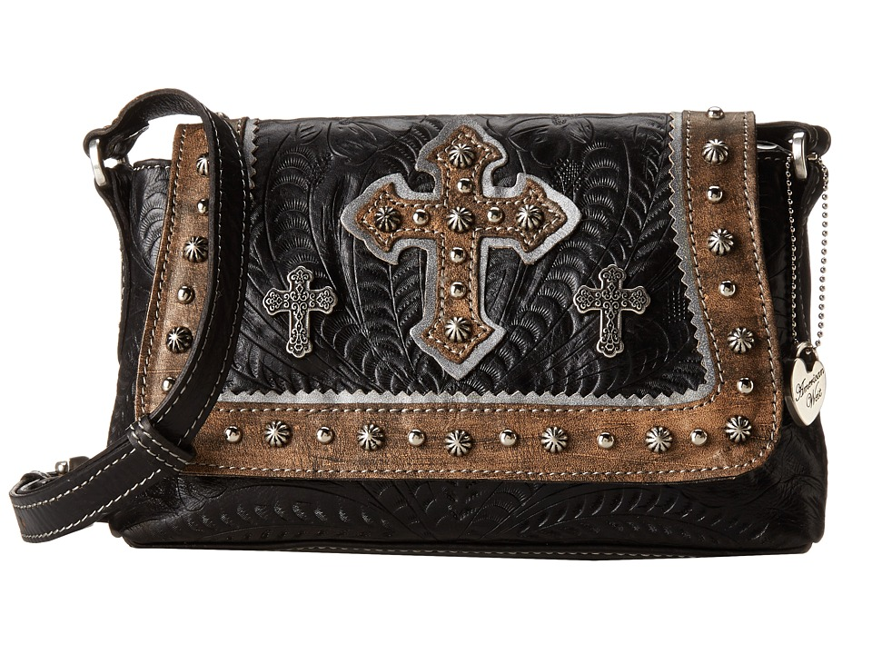 American West Cassidy Crossbody Flap Bag Black/Distressed Charcoal Brown Cross Body Handbags