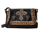 American West Cassidy Crossbody Flap Bag (Black/Distressed Charcoal Brown)