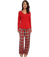 LAUREN by Ralph Lauren - Knit Top/Flannel Pant PJ Set