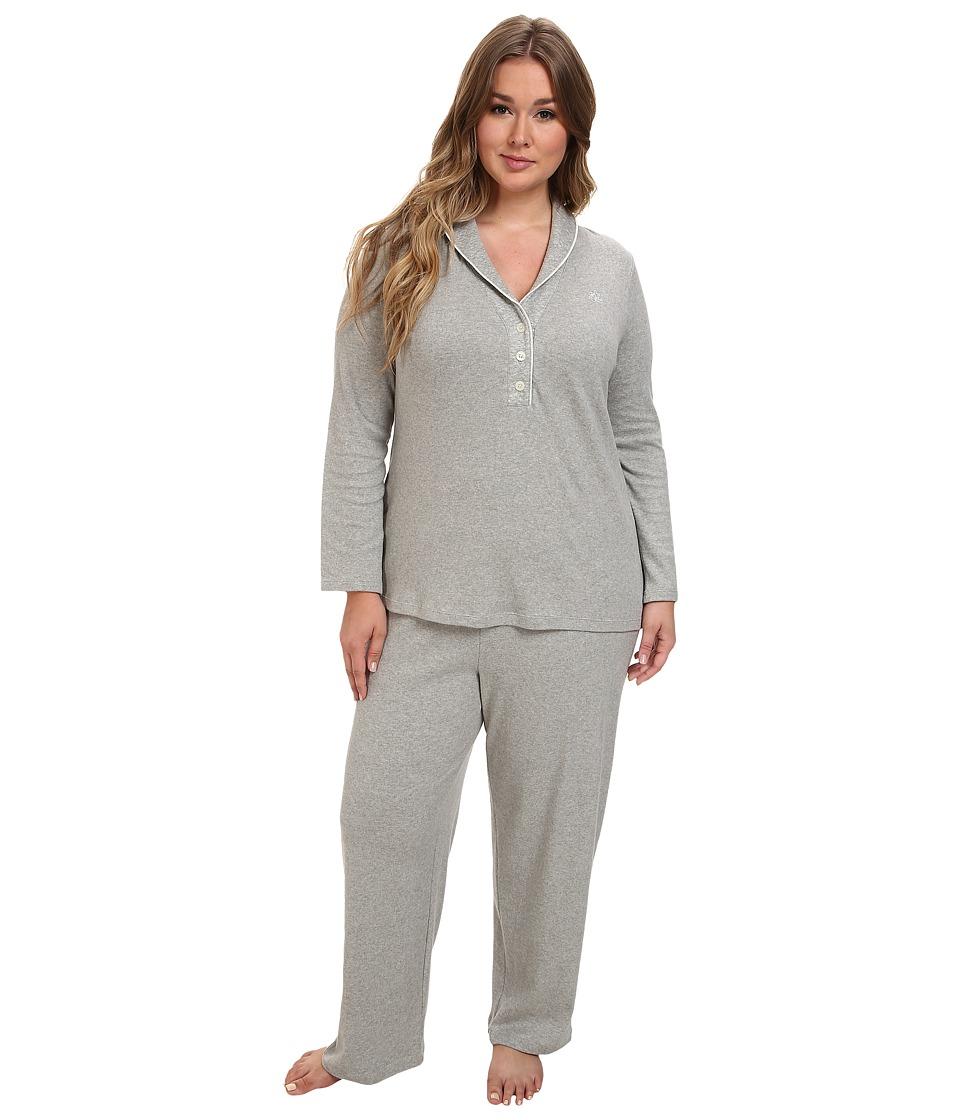 LAUREN Ralph Lauren - Plus Size Hartford Lounge PJ Set with Quilted Collar (Grey Heather) Womens Pajama Sets