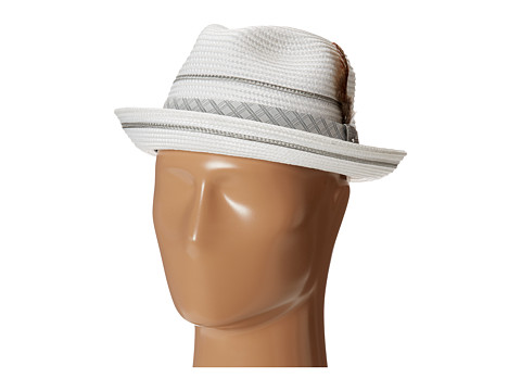 Stacy Adams Polybraid Pinch Front Fedora with Contrast Tie Band