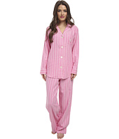 LAUREN by Ralph Lauren - Petite Brushed Twill LS Notch Collar PJ