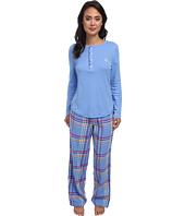 LAUREN by Ralph Lauren - Knit Top/Flannel Pant PJ Set