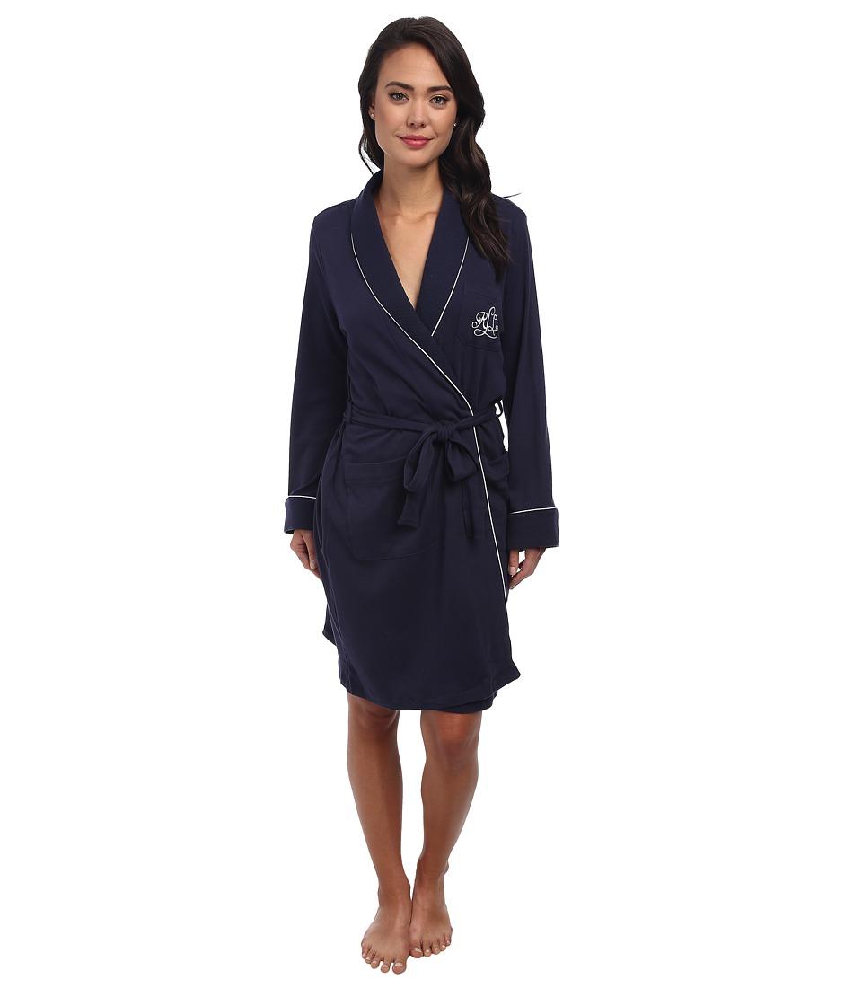 LAUREN Ralph Lauren - Hartford Lounge Short Shawl Collar Robe (Windsor Navy) Womens Robe