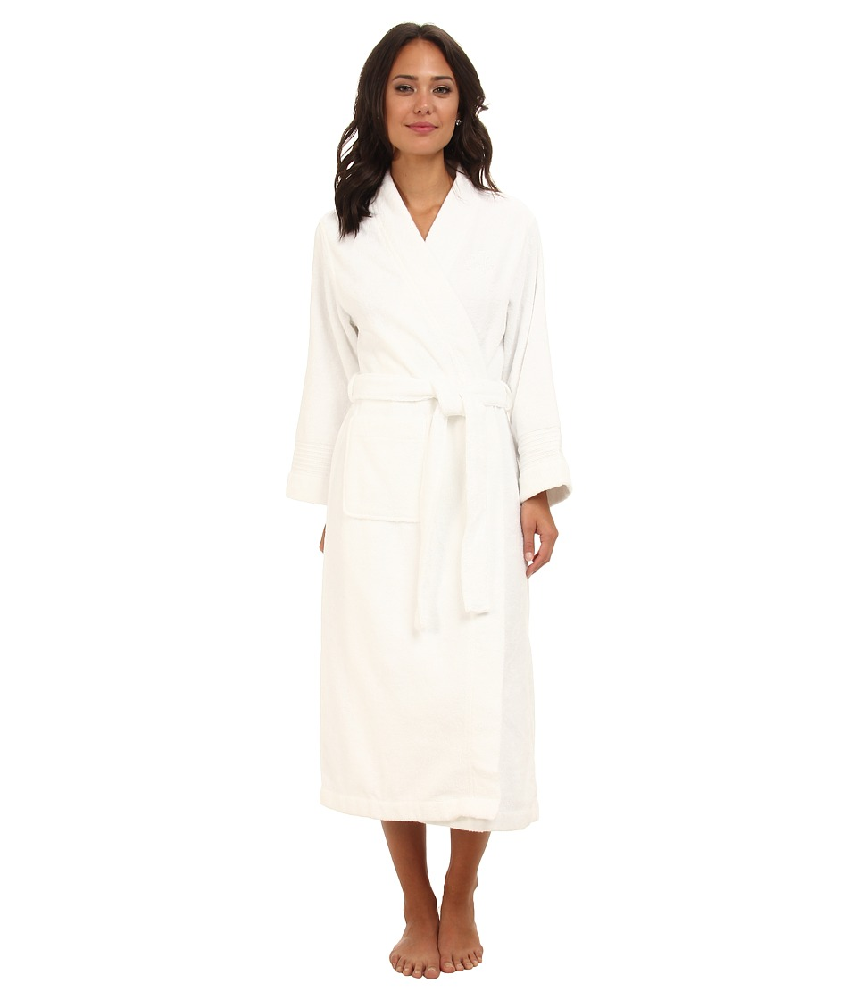 LAUREN Ralph Lauren - Greenwich Woven Terry Long Robe (White) Womens Robe