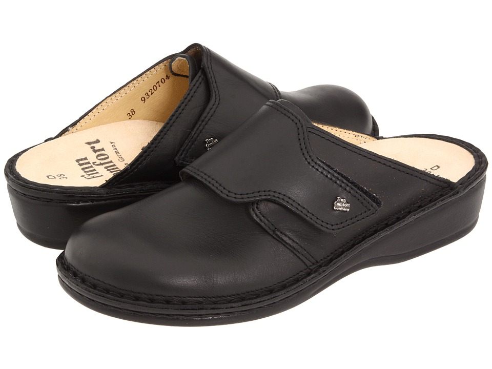 Finn Comfort - Aussee - 82526 (Black Leather Soft Footbed) Womens Clog Shoes