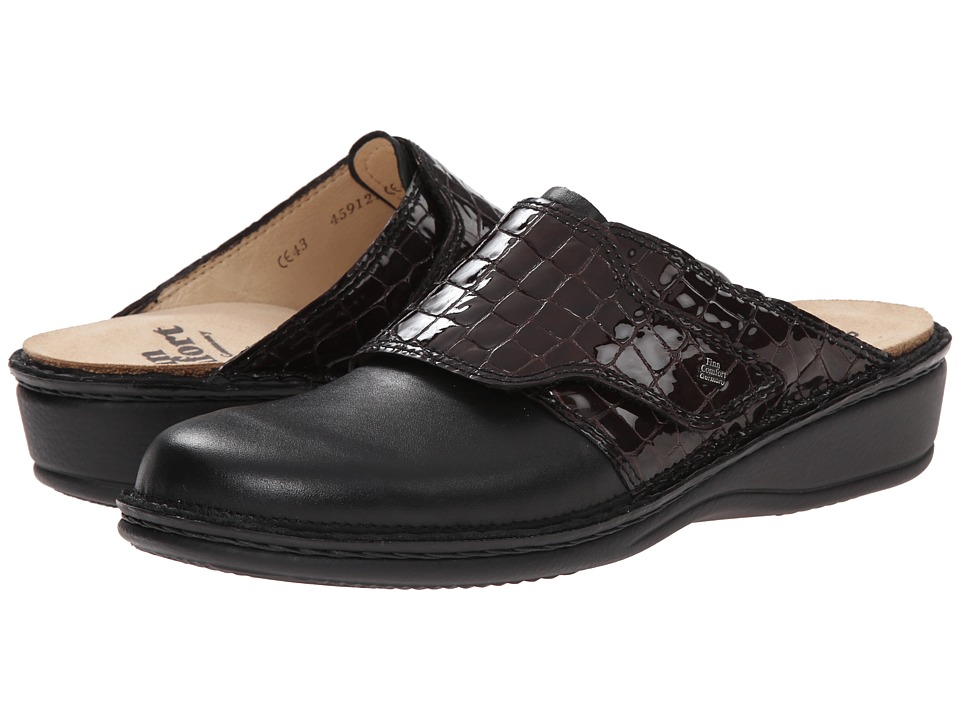 Finn Comfort Aussee 82526 Black/Vino Leather Soft Footbed Womens Clog Shoes