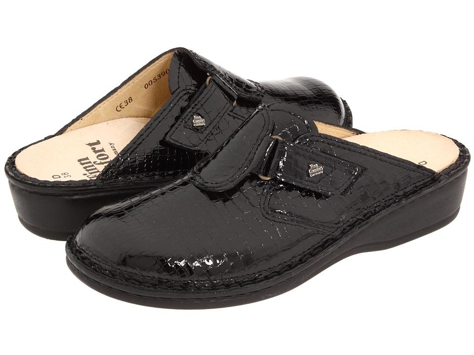 Finn Comfort Orb 2506 Black Patent Croc Womens Clog/Mule Shoes
