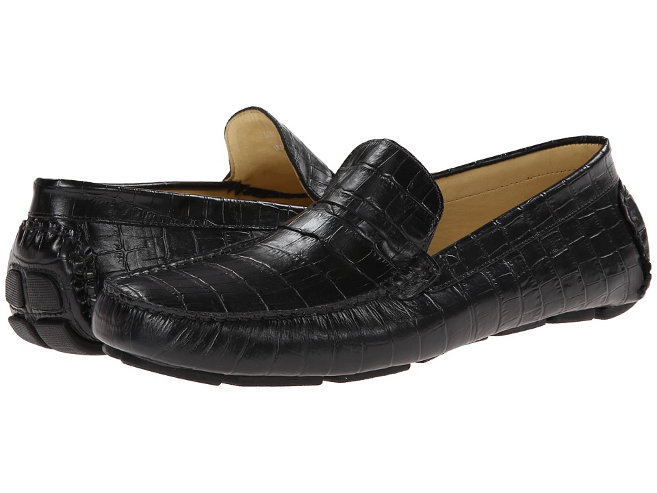 Massimo Matteo - Croc Driver (Black Croco) Mens Flat Shoes