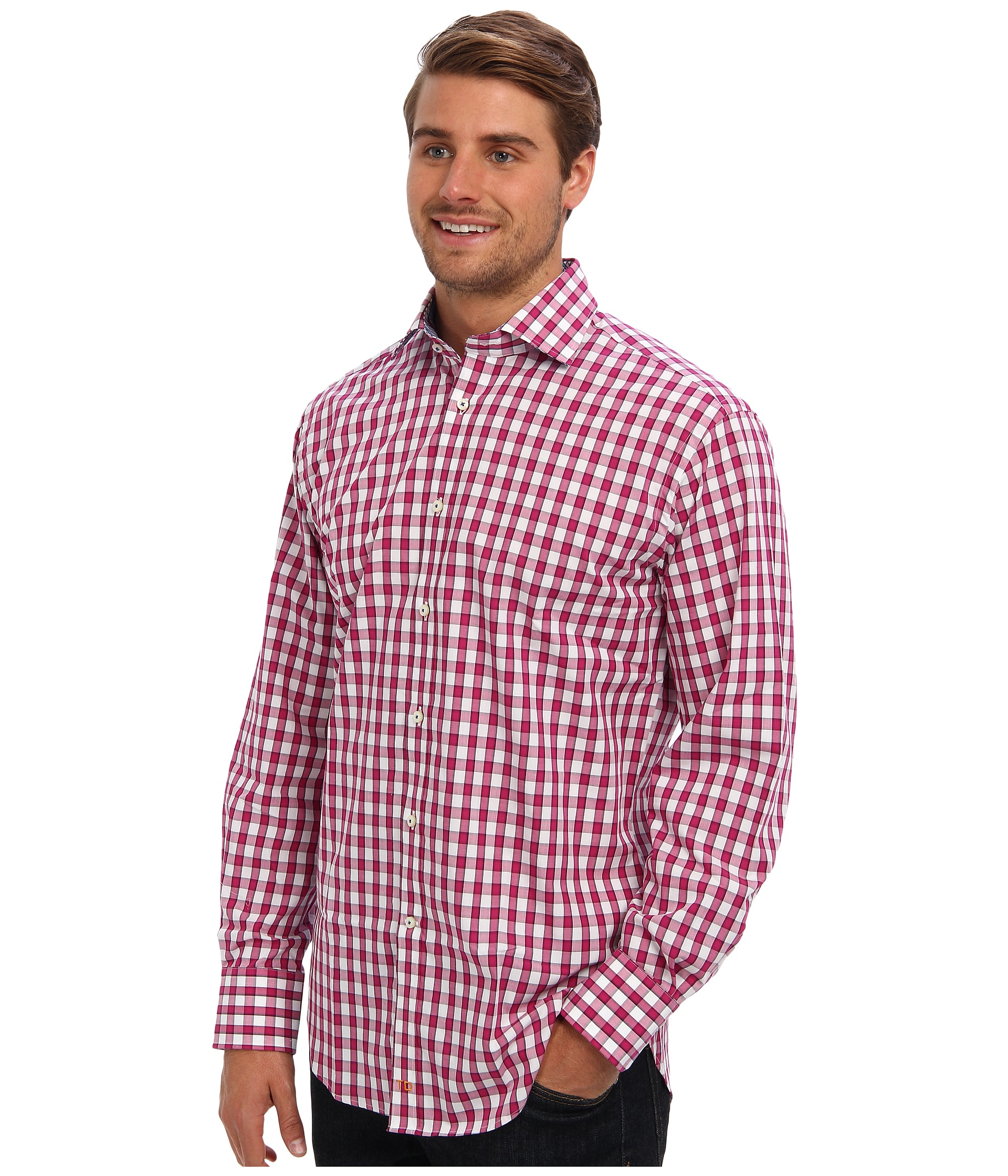 Thomas Dean Co L S Dark Pink Gingham Button Down Sport