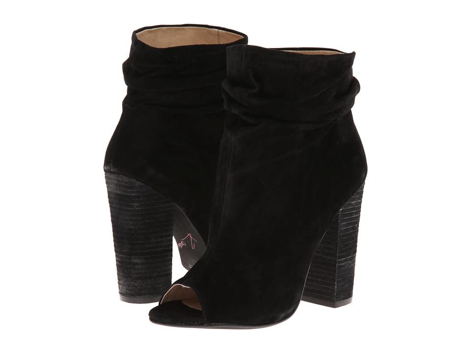 Kristin Cavallari - Laurel Peep Toe Bootie (Black Kid Suede) Womens Dress Pull-on Boots