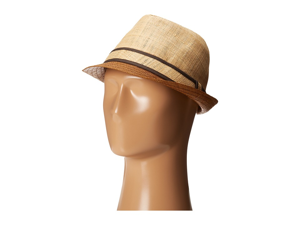 Tommy Bahama Raffia Fedora with Brown Brim (Natural) Traditional Hats