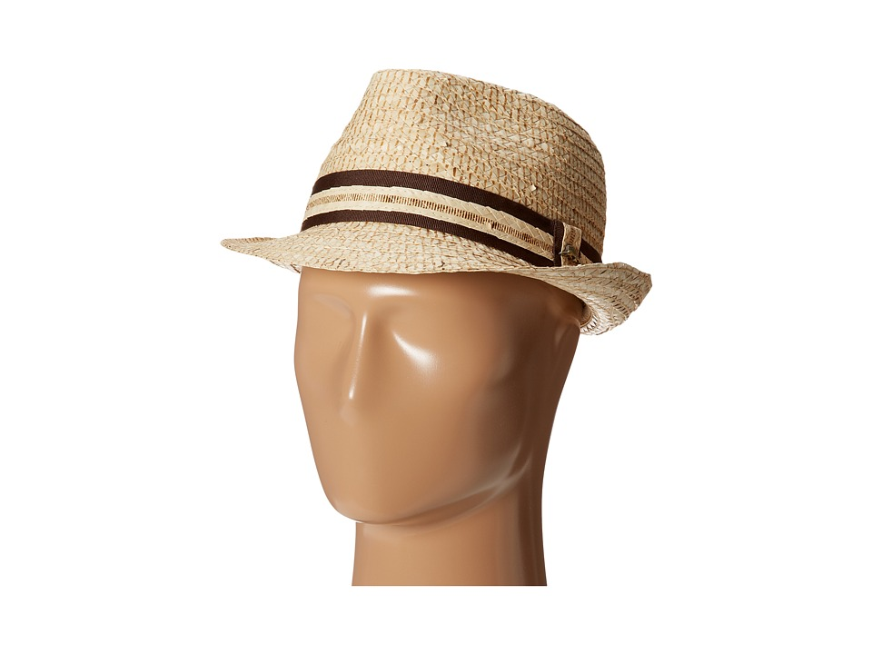 Tommy Bahama - Buri Straw Fedora with Contrast Trim (Natural) Traditional Hats