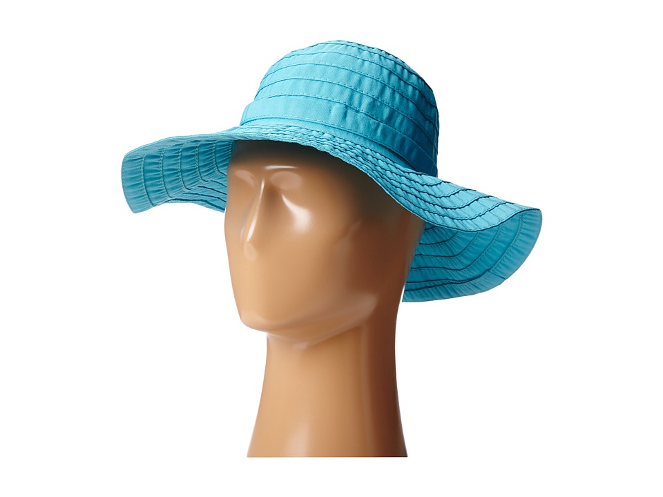SCALA - Crushable Big Brim Ribbon Sun Hat (Turquoise) Caps