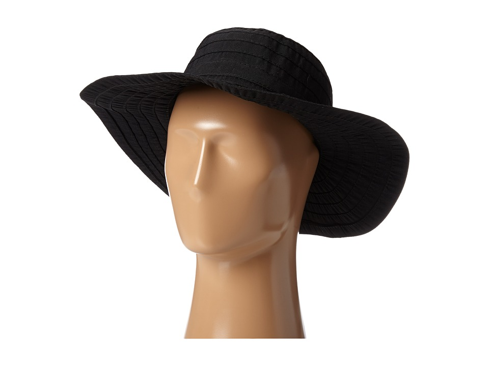 SCALA Crushable Big Brim Ribbon Sun Hat Black Caps