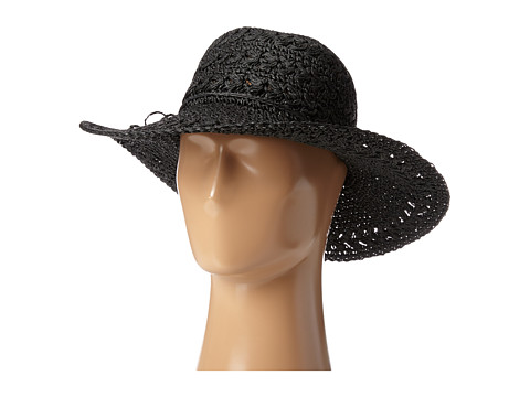 SCALA Big Brim Crocheted Toyo Hat - Black