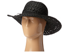 SCALA Big Brim Crocheted Toyo Hat (Black)