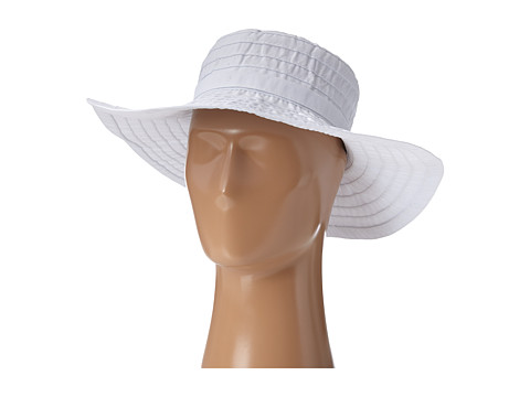 SCALA Crushable Big Brim Ribbon Sun Hat - White