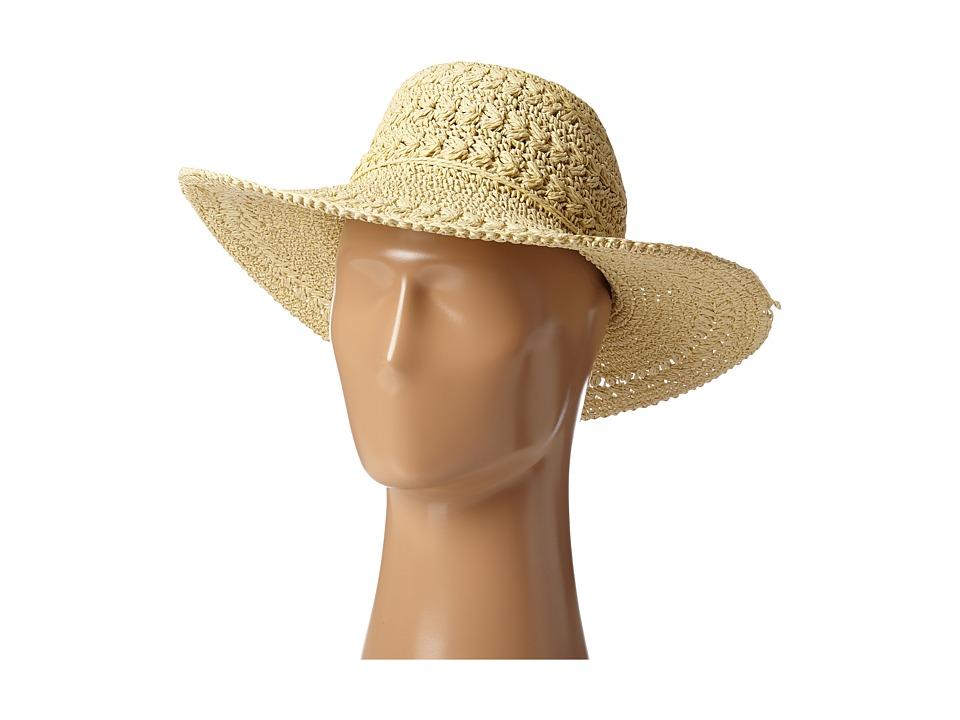 SCALA Big Brim Crocheted Toyo Hat Natural Caps