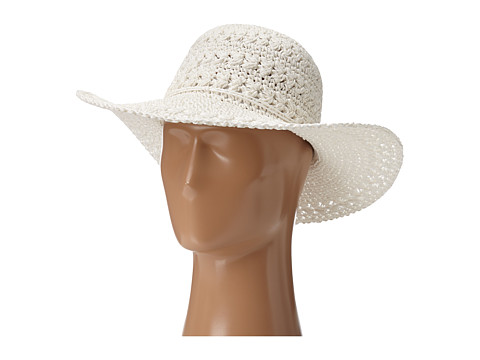 SCALA Big Brim Crocheted Toyo Hat - White