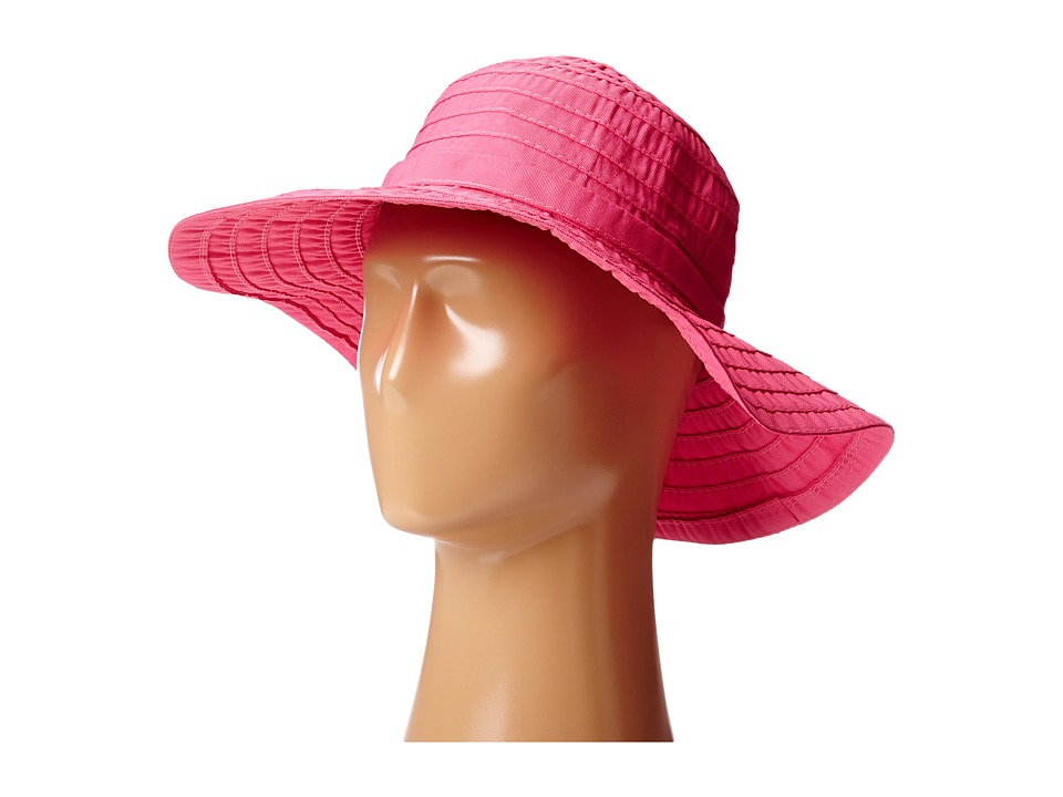 SCALA Crushable Big Brim Ribbon Sun Hat Fuchsia Caps