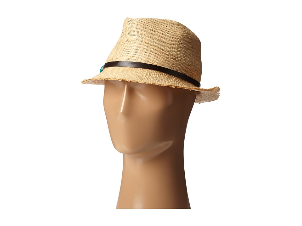 SCALA - Matte Raffia Fedora with Turquoise Trim (Natural) Fedora Hats