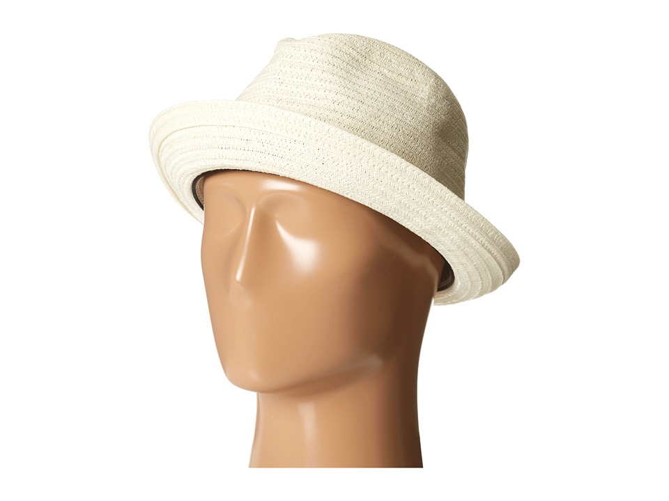 SCALA Toyo Braided Fedora with Black Band and Contrast Stitch Ivory Fedora Hats