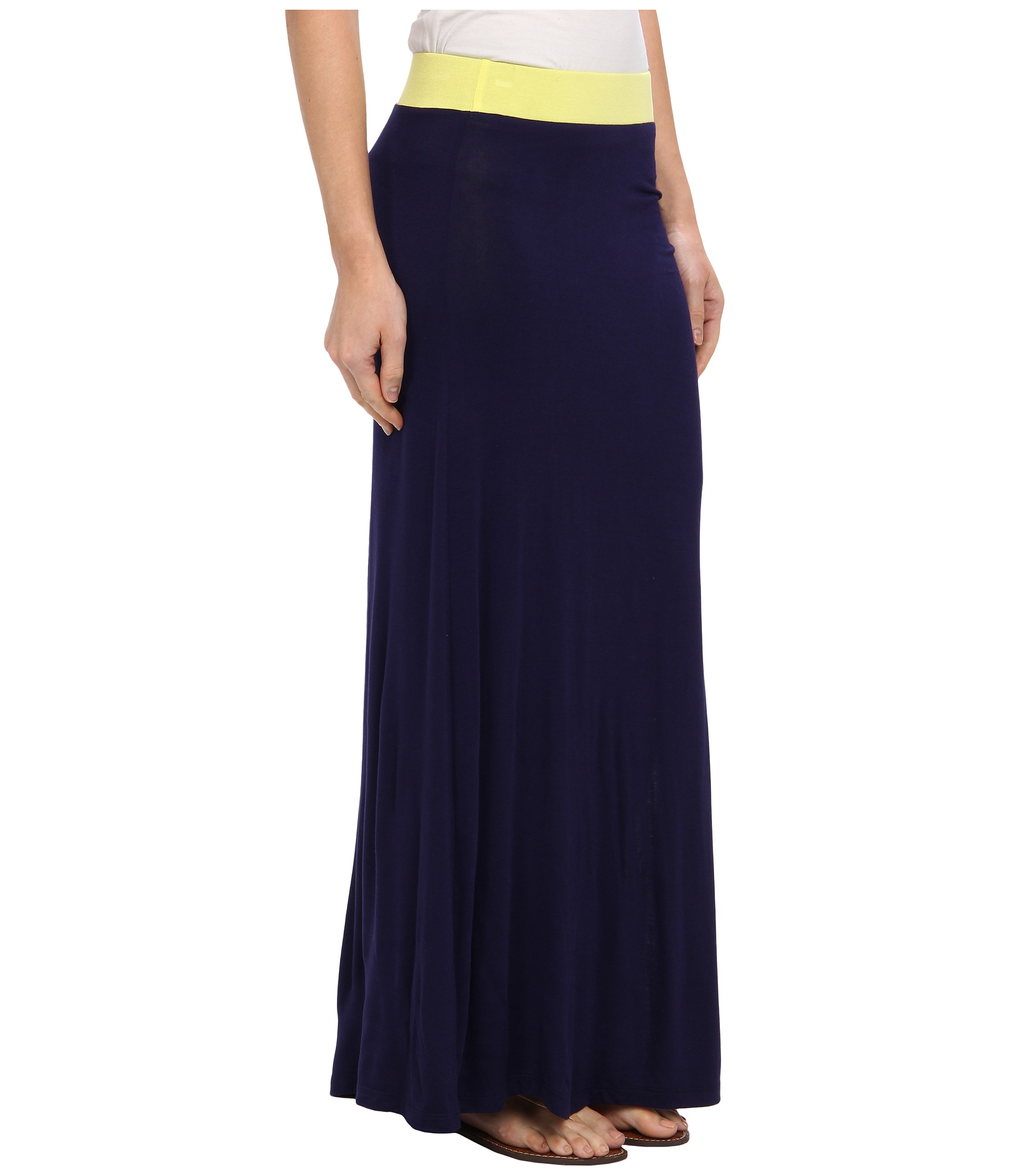 gabriella rocha side slit maxi skirt citron navy shipped