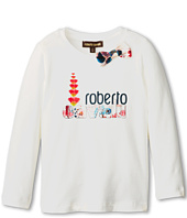 Roberto Cavalli Kids - L/S Top w/ Front Print and Woven Bow on Collar (Toddler/Little Kids)