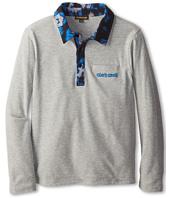 Roberto Cavalli Kids - Jersey L/S Polo w/ Blue Leopard Print Trim (Big Kids)