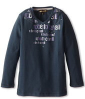 Roberto Cavalli Kids - V-Neck Logo Printed Soft Jersey Tee (Toddler/Little Kids)