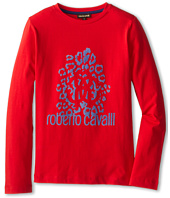 Roberto Cavalli Kids - Flocked Front Print L/S Tee (Big Kids)