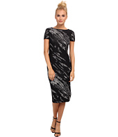 BCBGMAXAZRIA - Jackee Crackled Jacquard Deep V Dress