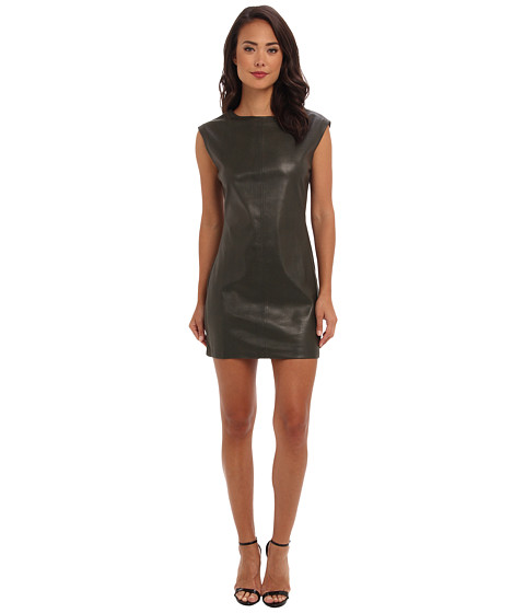 Shop BCBGMAXAZRIA online and buy BCBGMAXAZRIA Karlee Faux Leather Shift Dress Deep Olive Online - BCBGMAXAZRIA - Karlee Faux Leather Shift Dress (Deep Olive) - Apparel: The hunt is on in the fierce BCBGMAXAZRIA Karlee faux leather dress. ; Pieced, faux leather shift dress boasts stretchy side panels. ; Sleeveless design with zippered shoulder seams. ; Round neckline. ; Straight hemline. ; Unlined. ; Face: 100% polyurethane; Backing: 100% polyester; Contrast: 62% rayon, 32% nylon, 6% spandex. ; Machine wash cold, tumble dry low. ; Imported. Measurements: ; Length: 34 in ; Product measurements were taken using size SM (US 4). Please note that measurements may vary by size. ; Keep your clothing clean, in place, and in style with these products! Hollywood's best-kept Fashion Secrets: