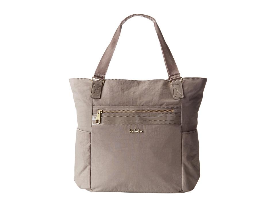 Kipling Leah Tote Dune Beige Patent Combo Tote Handbags