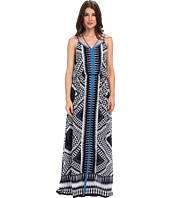 Adrianna Papell - Spaghetti Strap Maxi Dress w/ Diamond Ikat Motif & Crossover Back Detail