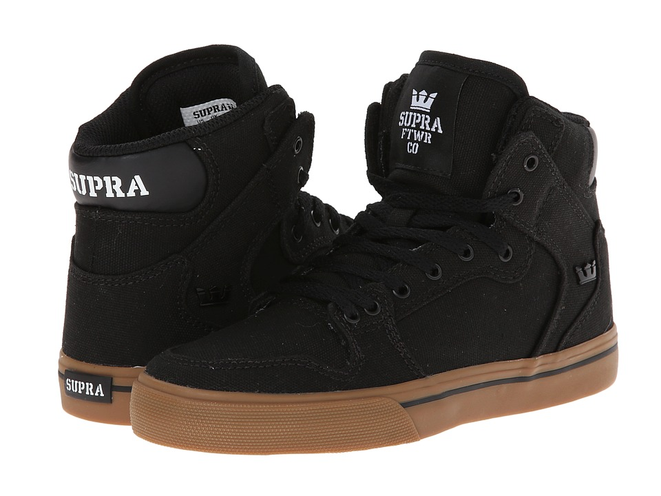 Supra Kids Vaider Little Kid/Big Kid Black/Gum Canvas Kids Shoes