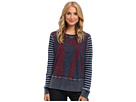 Michael Stars Denim Knit Stripe Sweatshirt