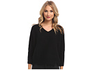Michael Stars Chunky Rib 3/4 Sleeve High-Low V-Neck Sweater