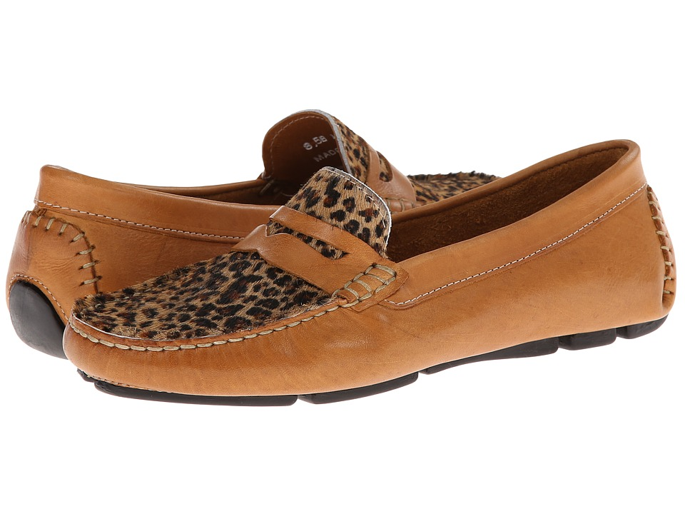 Massimo Matteo - Penny with Cheeta Vamp (Tan Bison/Cheeta) Womens Moccasin Shoes