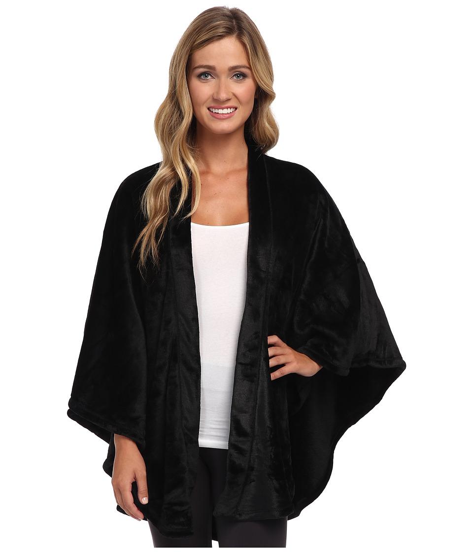 N by Natori - Solid Cashmere Fleece Poncho (Black) Women'...