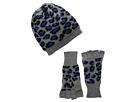 San Diego Hat Company KNH3332 Leopard Knit Fingerless Gloves Beanie Set