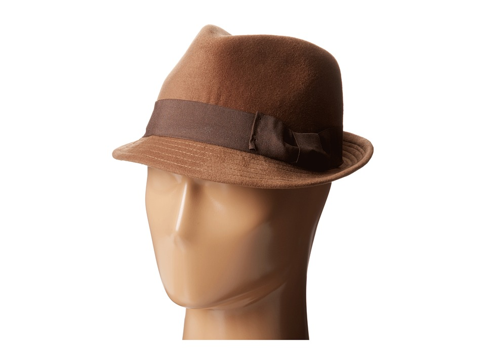 San Diego Hat Company CTH3718 Faux Wool Felt Fedora with Grosgrain Bow Band Light Brown Fedora Hats